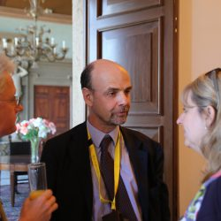 Professor Gustavo Piga talking with Martin Trybus and Catherine Barnard at the Global Procurement Conference in Rome's Villa Mondragone.